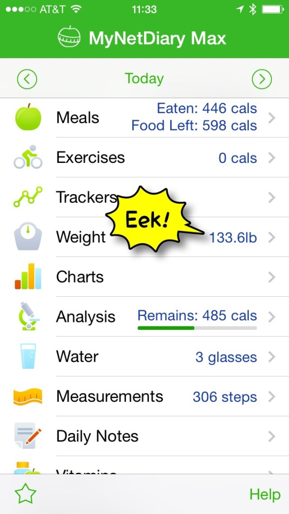 MyNetDiary app — the editorial comment about my weight is mine.
